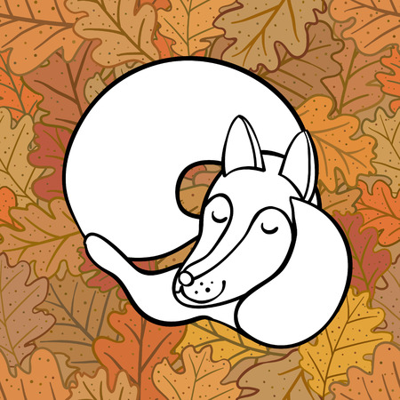 Cute cartoon of sleeping fox on oak leaves