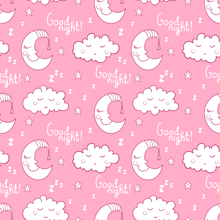 Seamless pattern with cartoon sleeping moon, cloud and star. Good night! Can be used for wallpaper, pattern fills, greeting cards, web page backgrounds, wrapping paper or fabric. Illustration
