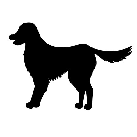 Silhouette of golden retriever isolated on white background. Funny dog. Vector illustration. Eps 10.