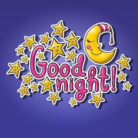 Buenas noches! Luna dormida con gorra de rayas, estrellas durmientes, letras de dibujos animados. Puede ser utilizado para tarjetas de felicitación Foto de archivo - 85402282