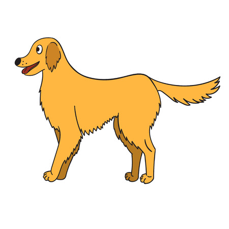 Cute cartoon golden retriever isolated on white background. Funny dog.