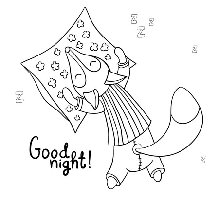 Cute cartoon sleeping fox in striped pajamas with pillow isolated on white background. Good night! Illustration