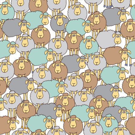 Naadloze achtergrond met leuke gekleurde schapen. Kan worden gebruikt voor behang, opvulpatronen, wenskaarten, webpagina-achtergronden, inpakpapier, schrootboeking of stof. Stock Illustratie
