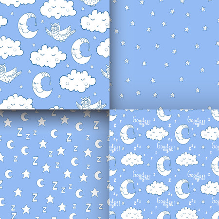 Set of seamless childish pattern with cartoon owl, fluffy cloud with face, sleeping moon, smiling star. For textile, fabric, bedroom interiors: wallpaper, pillow, blanket, pajamas. For restful sleep. Illustration