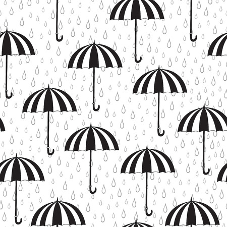 rainy season: Seamless pattern with umbrellas and rain. Can be used for wallpaper, pattern fills, greeting cards, webpage backgrounds, wrapping paper or fabric.
