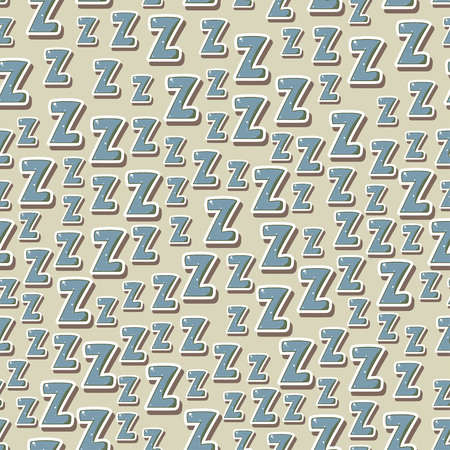 siesta: Seamless childish pattern with letters z. Zzz. For textile, fabric, bedroom interiors: wallpaper, pillow, blanket, pajamas. Good for restful calm sleep. Good night!