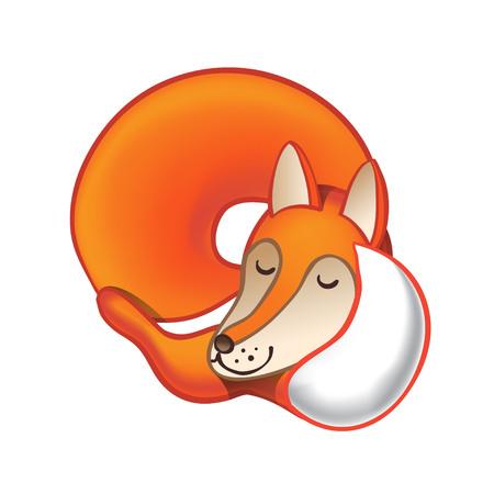 Cute cartoon sleeping fox isolated on white background. Good night! 向量圖像