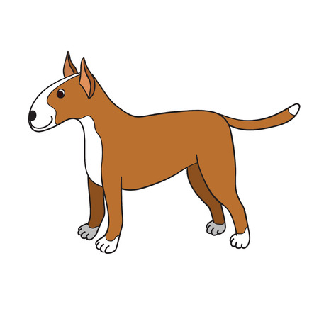 Cute cartoon bullterrier isolated on white background. Funny dog.