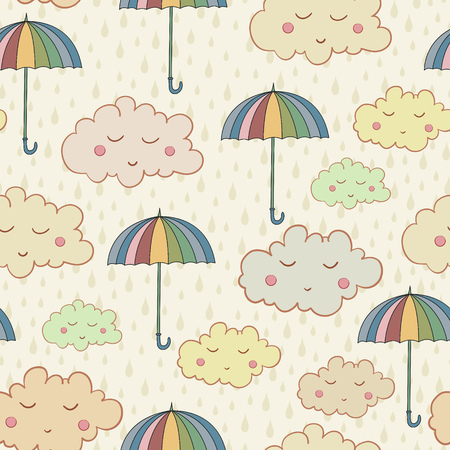 cartoon umbrella: Seamless pattern with cute sleeping clouds umbrellas and rain weather. Can be used for wallpaper, pattern fills, greeting cards, webpage backgrounds, wrapping paper or fabric. Illustration