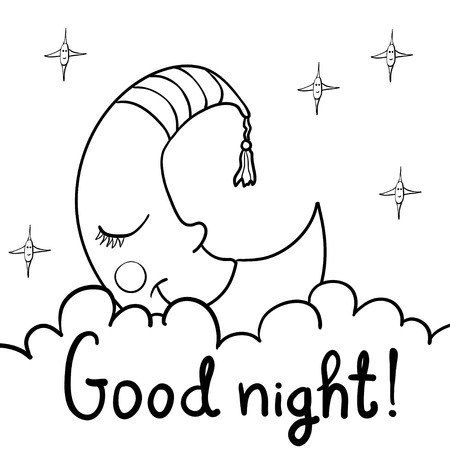 Cute cartoon Demilune, crescent, moon with face sleeping on fluffy clouds. Cartoon stars with faces. Isolated on white background. Can be used for colouring.