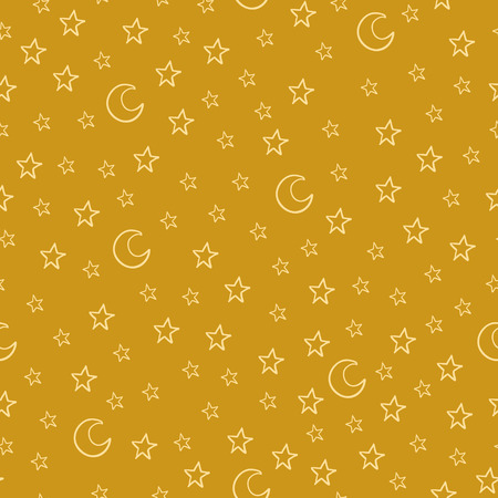 Seamless pattern with cartoon stars and moon on yellow background. Can be used for wallpaper, pattern fills, greeting cards, webpage backgrounds, wrapping paper or fabric.