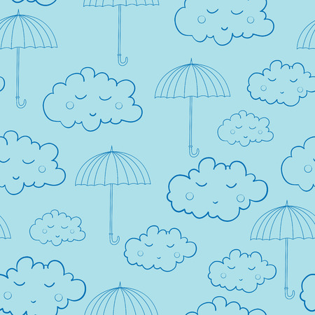 Seamless pattern with cute sleeping clouds and umbrellas. Can be used for wallpaper, pattern fills, greeting cards, webpage backgrounds, wrapping paper or fabric. Illustration