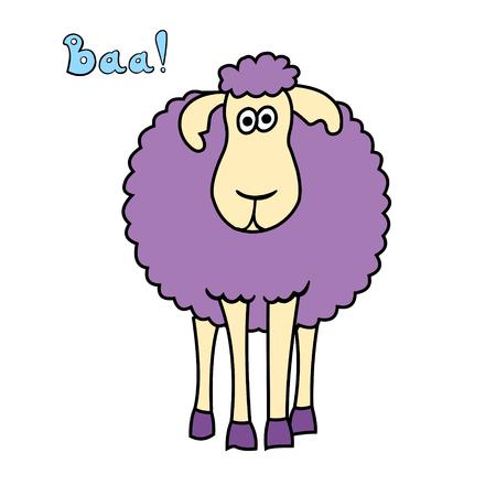 Cute fun cartoon sheep isolated on white background. Illustration