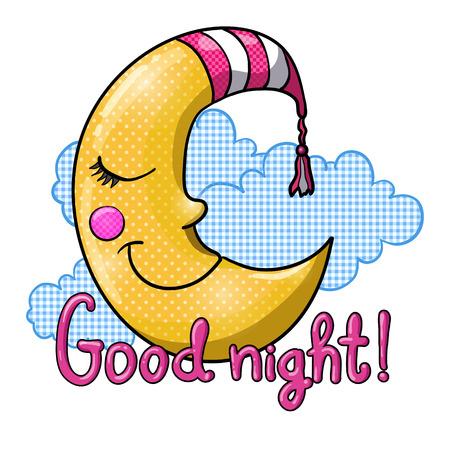 Dibujos animados durmiendo luna en rayas nightcap con nubes azules aisladas sobre fondo blanco. ¡Buenas noches!