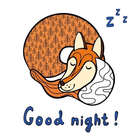 Cute cartoon sleeping fox. Good night!