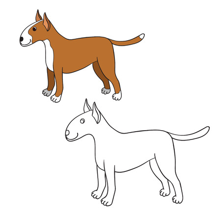 Cute cartoon bullterrier isolated on white background. Funny dog. Can be used for colouring.