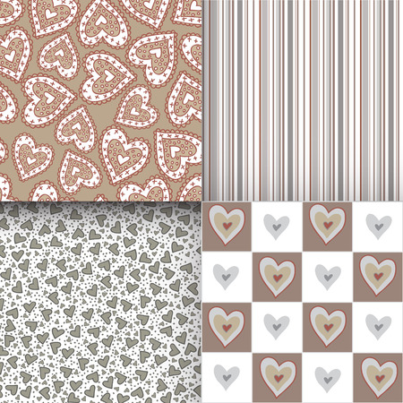 beguin: Set of seamless patterns with hearts. Can be used for wallpaper, pattern fills, greeting cards, webpage backgrounds, wrapping paper, scrap booking or fabric. Illustration