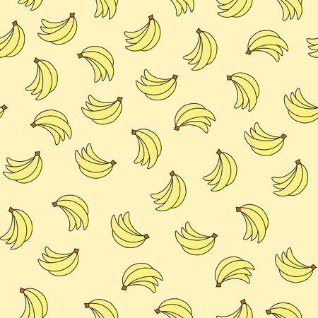 Seamless pattern with bananas on yellow background. Can be used for wallpaper, pattern fills, greeting cards, webpage backgrounds, wrapping paper, scrap booking and textile or fabric. Illustration
