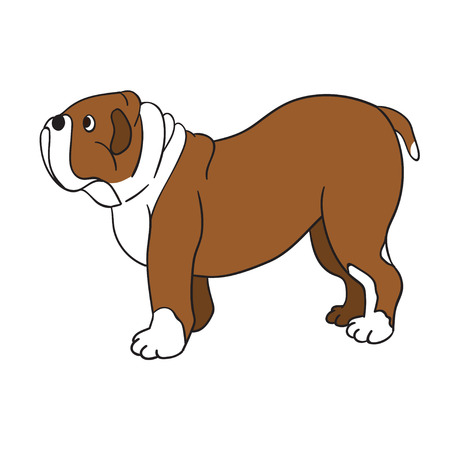 Cute cartoon bulldog isolated on white background. Vector illustration. Eps 10.