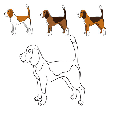 Cute cartoon contour beagle isolated on white background. Funny dog. Can be used for colouring. Vector illustration. Eps 10.
