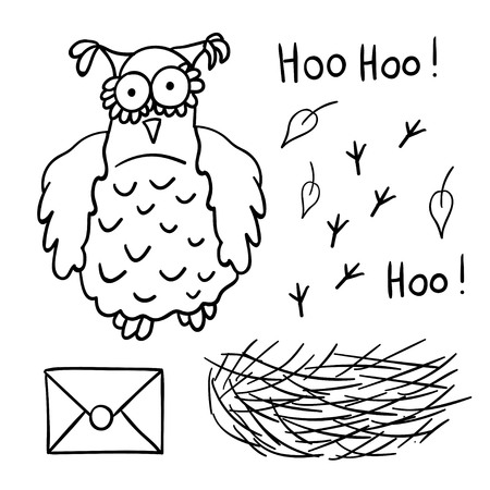 174 sage character stock vector illustration and royalty free sage  cute cartoon wise owl with mail nest footprints isolated on white background