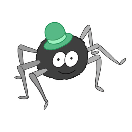 Cartoon of cute spider in hat