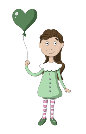 Girl with balloon in the shape of heart