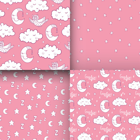 siesta: Set of seamless childish pattern with cartoon owl, fluffy cloud with face, sleeping moon, smiling star. For textile, fabric, bedroom interiors: wallpaper, pillow, blanket, pajamas. For restful sleep. Illustration
