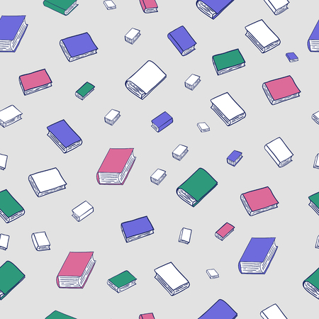 Fun seamless pattern with cartoon books. Can be used for wallpaper, pattern fills, greeting cards, webpage backgrounds, wrapping paper or fabric. Illustration