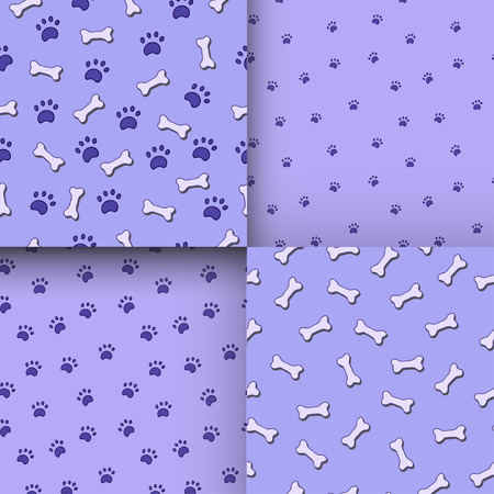 jointless: Seamless pattern with paws and bones. Good for textile, fabric, zoo shops advertising, wrapping paper