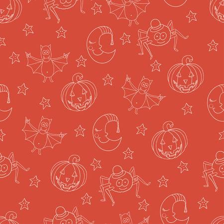 Seamless halloween pattern with cartoon bat, moon, star, pumpkina and spider. For wrapping, greeting cards, backgrounds, wallpapers, fabric design Illustration