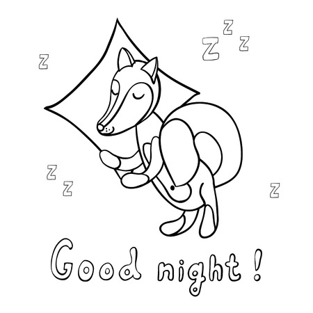 Cute cartoon sleeping fox with pillow on background with stars isolated on white background. Good night!