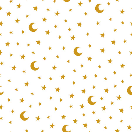 Seamless pattern with cartoon stars and moon on white background. Can be used for wallpaper, pattern fills, greeting cards, webpage backgrounds, wrapping paper or fabric. Ilustração