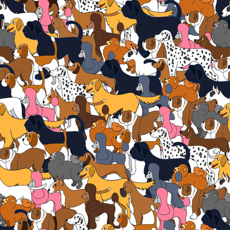Cute seamless pattern with cartoon dogs. Set of breeds. For backgrounds, wallpapers, covers, textile, fabric and wrapping paper.  illustration.