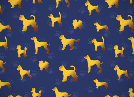 Horizontal card. Pattern with yellow gold dogs on dark blue background with paws. Different breeds. Good for greetind cards, wrapping papers, textile, fabric, invitations.