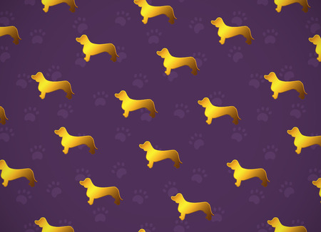 Horizontal card. Pattern with yellow gold dogs. Breed dachshund. Good for greeting cards, wrapping paper, textile, surface design, fabric.  Stock Illustratie
