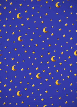 Vertical card. pattern with gold cartoon stars and moons. Good for surface design, textile, fabric, wallpaper, wrapping paper, decoupage, scrapbookin, handmade. Vector.