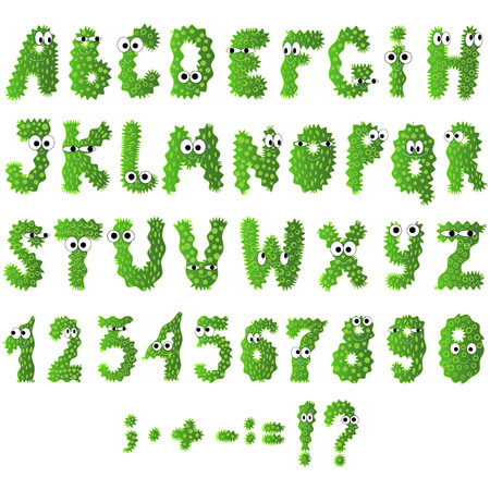 Cartoon flat monsters alphabet icons. Green bacteria and microbes isolated on white. Vector.