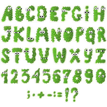 Dibujos animados iconos de alfabeto de monstruos planos. Bacterias y microbios verdes aislados en blanco. Vector.