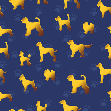 Seamless pattern with yellow gold dogs on dark blue background with paws. Different breeds. Good for greetind cards, wrapping papers, textile, fabric, invitations. Standard-Bild - 102547643