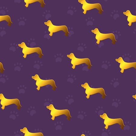 Seamless pattern with yellow gold dogs. Breed dachshund. Good for greeting cards, wrapping paper, textile, surface design, fabric.