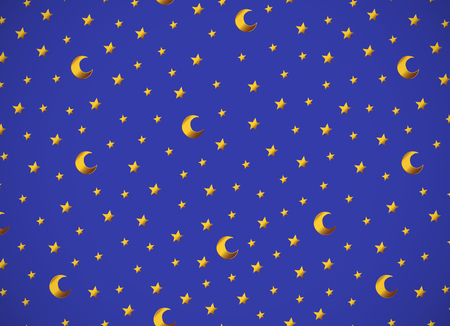 Horizontal card. pattern with gold cartoon stars and moons. Good for surface design, textile, fabric, wallpaper, wrapping paper, decoupage, scrapbookin, handmade. Vector.