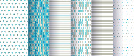 Set of abstract seamless patterns with circles, dots ans stripes. Good for surface design, textile, fabric, wrapping paper, decoupage, scrapbooking.