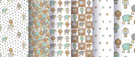 Set of seamless cute patterns with cartoon sheep. Good for surface design, textile, fabric, wrapping paper, pattern fills, decoupage, scrapbooking. Vector illustration. Banque d'images - 102581294