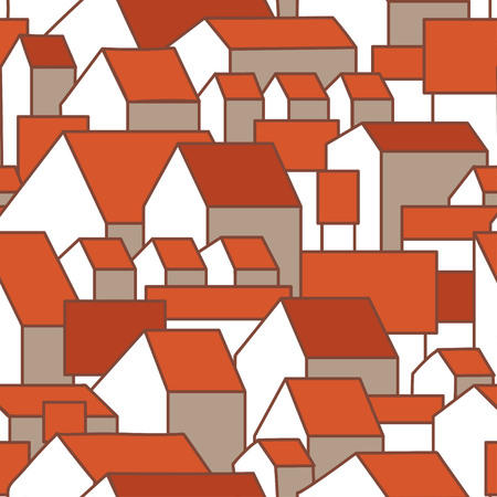 Seamless pattern with awesome houses and red roofs. Vector illustration. Good for surface design, textile, fabric, wrapping paper, decoupage, scrapbooking.  Illustration