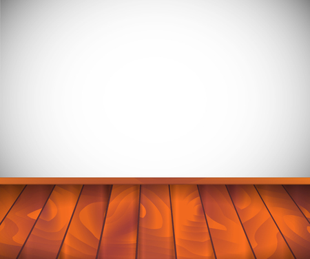 Background. Empty room with wooden floor or parquet and white wall.  Vector illustration.3d style 일러스트