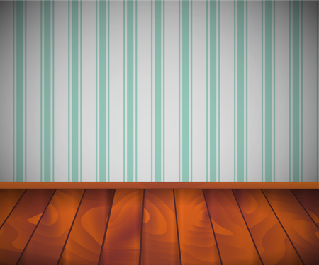 Background. Empty room with wooden floor or parquet and striped wallpaper.  Vector illustration. 矢量图像