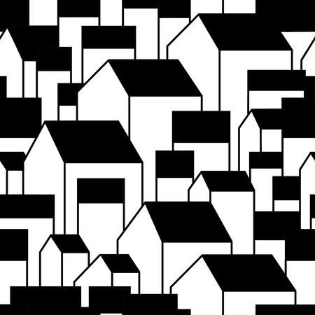 Unusual background with little town or village. Grable residential houses. Vector illustration. Black contour.