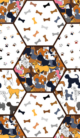 Awesome seamless pattern with cartoon cute dogs, paws and bones. Different breeds. Good for wallpaper, pattern fills, greeting cards, webpage backgrounds, wrapping paper and textile or fabric. Vector illustration. Ilustracja