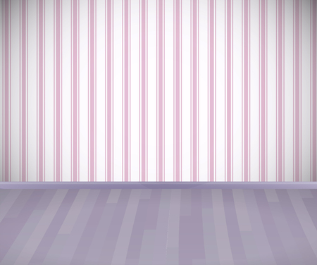 Background. Empty room with wooden floor or parquet and striped pink wallpaper.  Vector illustration. Illustration